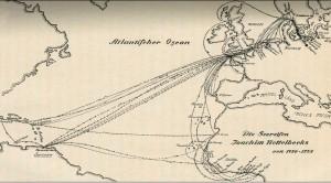 Mapa ukazująca podróże kołobrzeskiego żeglarza.