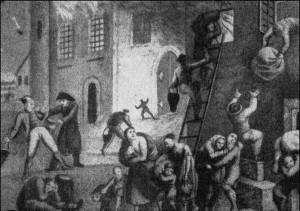 Nettelbeck wraz z synem gasi pożar kołobrzeskiego Kościoła Mariackiego.