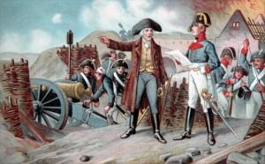 Nettelbeck wraz z komendantem kołobrzeskiej twierdzy na szańcach obronnych miasta.
