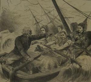 Nettelbeck wraz z kołobrzeskimi pracownicami portowymi ratuje brytyjski żaglowiec.